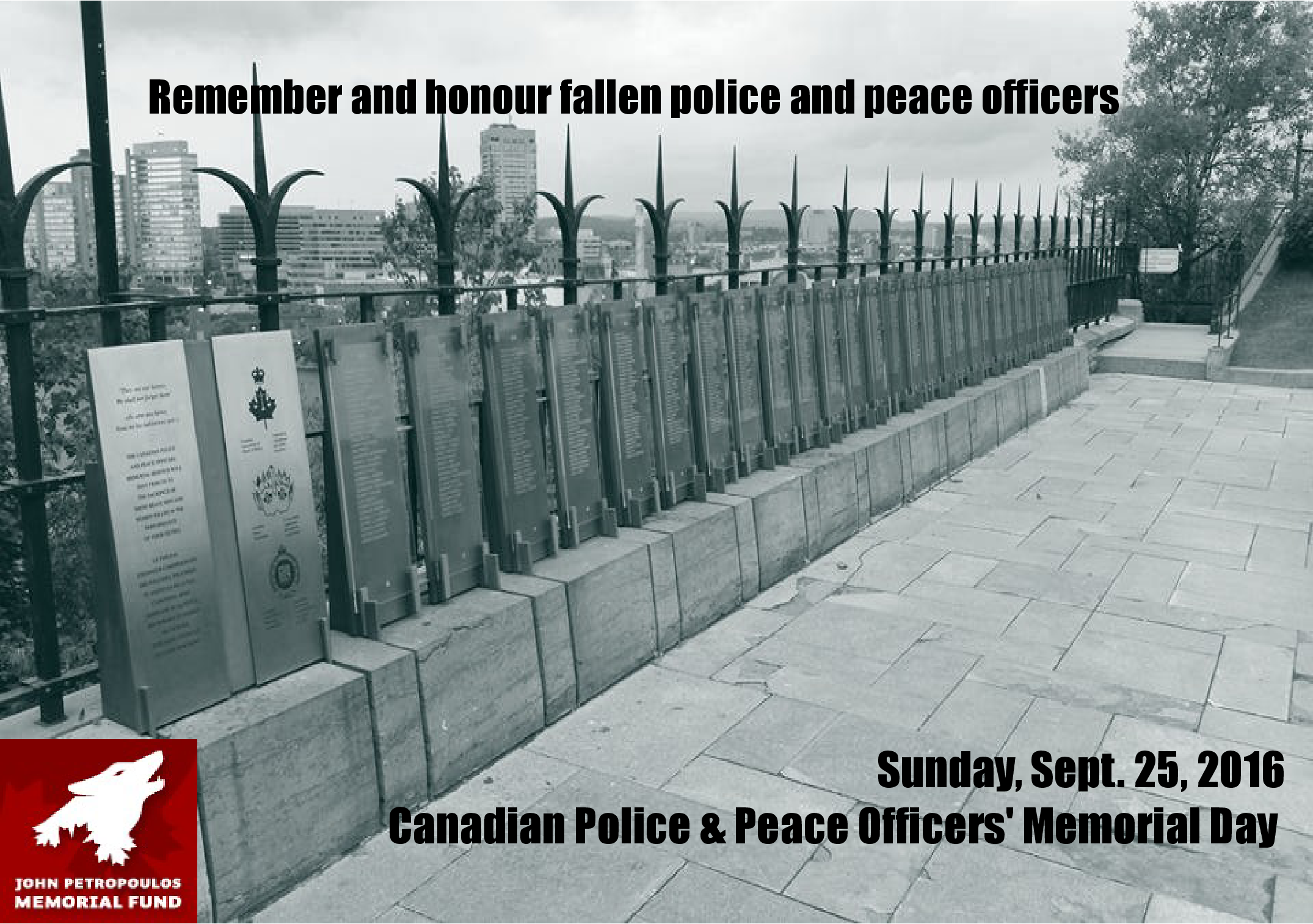 CANADIAN POLICE & PEACE OFFICERS' MEMORIAL DAY: SUNDAY, SEPT. 25, 2016