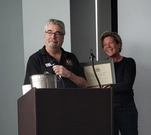 Mike Turcotte (left) poses with Maryanne Pope (right) after she received an honorary membership with the CPVA.